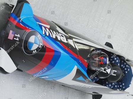 Stock Picture of STEVEN HOLCOMB, CARLO VALDES,  JAMES REED, SAMUEL McGUFFIE - Team USA finished 3rd in 1:42.07 BMW IBSF World Cup 4-man Bobsleigh 2016/2017 Igls  Austria Picture: Sandra Mailer 5/2/2017