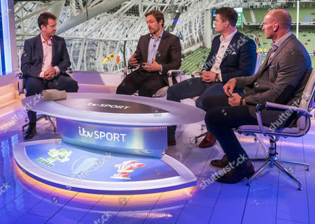 THE 6 NATIONS 2017  - Presenter Mark Pougatch with Jonny Wilkinson,   Brian O'Driscoll and Gareth Thomas