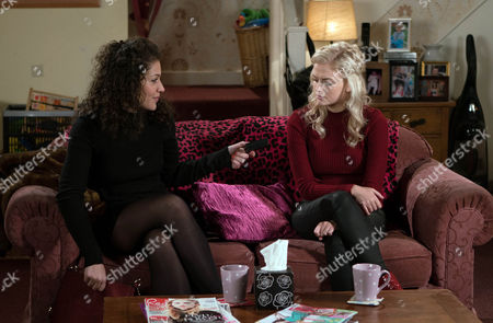 Mel Maguire, as played by Sonia Ibrahim, calls at No.8 and tells Bethany Platt, as played by Lucy Fallon, how disappointed Nathan is that she's not been in touch. Bethany admits she really likes Nathan but worries that he probably thinks she's just a silly little girl. Handing Bethany a beautiful necklace, Mel explains that Nathan bought it for her next video shoot. (Ep 9100 - Mon 13 Feb 2017)