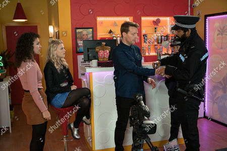In the salon Mel Maguire, as played by Sonia Ibrahim, sets to work on Bethany Platt's, as played by Lucy Fallon, makeup, however they're interrupted by the police who arrest Nathan, as played by Christopher Harper, on suspicion of the abduction of Annabel Adams. (Ep 9102 - Thur 16 Feb 2017)