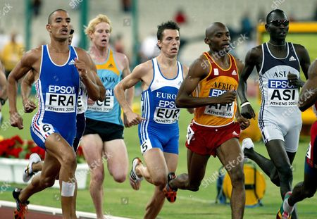 (l-r) Florent Lacasse From France Jason Stewart From New Zealand Bram Som From Netherlands Mbulaeni Mulaudzi From South Africa and Youssef Saad Kamel From Bahrain Compete in the Men's 800m Final During the 10th Athletics World Cup at the Olympic Stadium in Athens Sunday 17 September 2006 Kamel Finished First Som Second and Mulaudzi Third Greece Athens