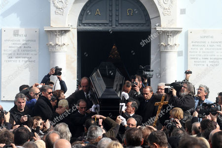 The Coffin of Greek Singer Demis Roussos is Carried out of a Church After the Funeral Ceremony in Athens Greece 30 January 2015 Roussos Died at the Age of 68 on 25 January Greece Athens