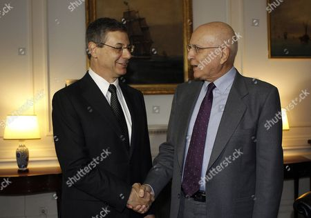 Greek Foreign Minister Stavros Dimas (r) Welcomes Israel's Deputy Foreign Minister Danny Ayalon (l) During Their Meeting in Athens Greece on 23 November 2011 Reports State That Danny Ayalon who on an Official Visit to Greece is the First Foreign Official to Visit the Country Since the Formation of the New Greek Government Greece Athens