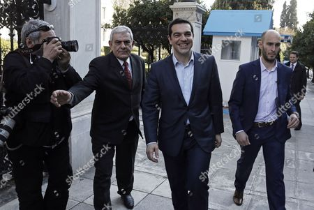 Greek Prime Minister Alexis Tsipras (2-r) Leaves the Presidential Mansion After a Meeting with Outgoing President Karolos Papoulias (not Pictured) in Athens Greece 04 March 2015 the Greek Government Announced That Finance Minister Yanis Varoufakis Will Present a Folder with Six Reform Proposals to the Eurogroup Meeting on 10 March Greece Athens