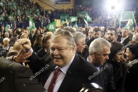 Greek Pasok Socialist Party Leader Evangelos Venizelos (c) is Surrounded by Supporters During a Pre-election Rally in Athens Ahead of the General Elections Greece 21 January 2015 Greece Will Hold Parliamentary Elections on 25 January 2015 Greece Athens