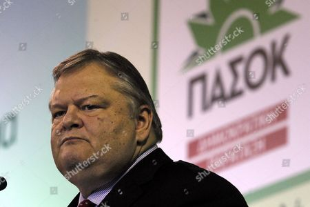 Greek Pasok Socialist Party Leader Evangelos Venizelos Addresses Supporters During a Pre-election Rally in Athens Ahead of the General Elections Greece 21 January 2015 Greece Will Hold Parliamentary Elections on 25 January 2015 Greece Athens