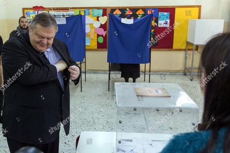 Greek Pasok Socialist Party Leader Evangelos Venizelos Casts His Ballot at a Polling Station in Thessaloniki Greece 25 January 2015 Some 9 850 000 Voters Take to the Polls Throughout Greece on Sunday in Critical General Elections That Will Determine the Country's Future Greece Thessaloniki
