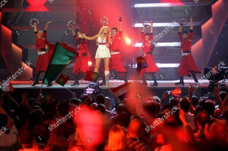 Tina Karol Representing Ukraine Performs the Song 'Show Me Your Love' During the Semi Finals of the 51st Eurovision Song Contest Hosted at Oaka's Olympic Indoor Hall in Athens Thursday 18 May 2006 Only 10 of the 23 Contestants in the Semi Finals Will Qualify For the Eurovision Final on 20 May Greece Athens
