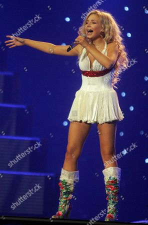 Tina Karol From Ukraine Performs the Song 'Show Me Your Love' During the First Dress Rehearsal of the Countries Participating in the Eurovision Song Contest Semi-finals in Athens on Wednesday 17 May 2006 Greece Athens