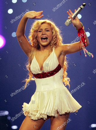 Tina Karol From Ukraine Performs the Song Show Me Your Love During the Eurovision Song Contest (esc) 2006 Finals at the Oaka's Olympic Indoor Hall in Athens Saturday 20 May 2006 Greece Athens
