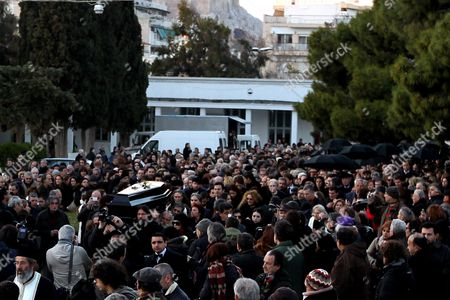 Friends and Relatives Accompany the Coffin Containing the Body of Greek Director Theo Angelopoulos During His Funeral in Athens Greece 27 January 2012 Theo Angelopoulos Died in a Road Accident in the Early Hours on 25 January 2012 While Working on His Latest Movie Near Athens He was 76 Greece Athens
