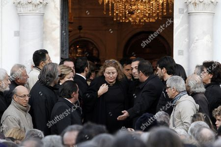 Phoebe Angelopoulos (c) Widow of Greek Director Theo Angelopoulos Exits the Church During Her Husband's Funeral in Athens Greece 27 January 2012 Theo Angelopoulos Died in a Road Accident in the Early Hours on 25 January 2012 While Working on His Latest Movie Near Athens He was 76 Greece Athens