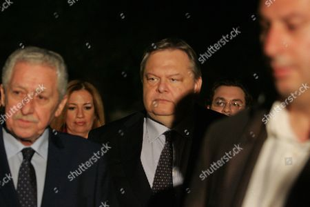 Pasok Socialist Party Leader Evangelos Venizelos (c) and Democratic Left Party Leader Fotis Kouvelis (l) Leaving After a Meeting with Prime Minister Antonis Samaras at the Prime Minister's Office in Athens Greece 19 June 2013 Greece's Conservative Prime Minister Antonis Samaras was to Meet with His Coalition Partners to Discuss the Shut-down of State Broadcaster Ert Which Sparked a Political Crisis and is Threatening to Bring Down the Government Greece Athens