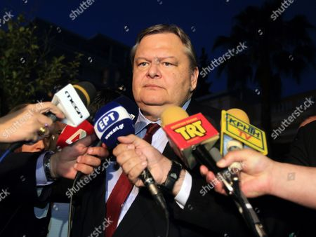 Pasok Party Leader Evangelos Venizelos Addresses Reporters After a Meeting at the Prime Minister's Office in Athens Greece 27 May 2013 Greek Prime Minister Antonis Samaras and the Two Party Leaders Supporting His Coalition Government Pasok Leader Evangelos Venizelos and Democratic Left (dimar) Leader Fotis Kouvelis Met at the Maximos Mansion For an Overall Review of the Current Political Issues with Special Focus on the Antiracist Draft Law Greece Athens