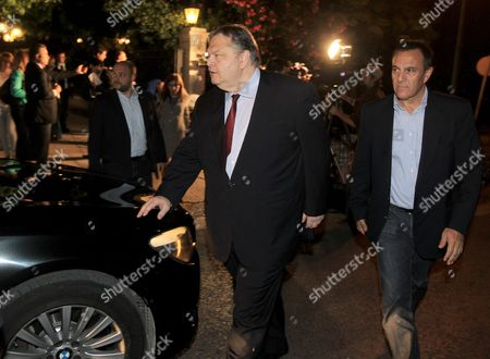 Pasok Party Leader Evangelos Venizelos (c) Leaves the Prime Minister's Office After a Meeting in Athens Greece 27 May 2013 Greek Prime Minister Antonis Samaras and the Two Party Leaders Supporting His Coalition Government Pasok Leader Evangelos Venizelos and Democratic Left (dimar) Leader Fotis Kouvelis Met at the Maximos Mansion For an Overall Review of the Current Political Issues with Special Focus on the Antiracist Draft Law Greece Athens