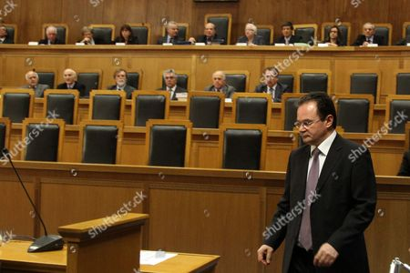 Former Finance Minister George Papaconstantinou (r) Enters the Plenary Court Room of the Supreme Court (areios Pagos) in Athens Greece 24 February 2015 at the Start of a Trial Over His Handling of the So-called Lagarde List of Greece's Large-scale Depositors in a Swiss Bank Others Are not Identified Papaconstantinou is Facing the Criminal Charges of Tampering with a Public Document and Attempted Breach of Trust Greece Athens