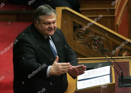 Greek Socialist Pasok Party Leader Evangelos Venizelos Addresses the Greek Parliament in Athens Greece 17 January 2013 the Greek Parliament was Set to Vote on Whether to Launch a Formal Investigation Into Accusations That Two Former Prime Ministers Had Failed to Take Action on the So-called 'Lagarde List' That Identified Multi-millionaires Suspected of Tax Evasion the List Contains the Names of More Than 2 000 Greek Citizens with Huge Deposit Accounts at a Geneva Branch of Hsbc It was Given to Former Finance Minister George Papaconstantinou by His Then-counterpart Christine Lagarde of France in 2010 Greece Athens