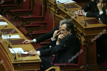 Greek Prime Minister Antonis Samaras is Seen During the Voting Procedure After a Debate at the Greek Parliament in Athens Greece 18 January 2013 the Greek Parliament was Set to Vote on Whether to Launch a Formal Investigation Into Accusations That Two Former Prime Ministers Had Failed to Take Action on the So-called Lagarde List That Identified Multi-millionaires Suspected of Tax Evasion the List Contains the Names of More Than 2 000 Greek Citizens with Huge Deposit Accounts at a Geneva Branch of Hsbc It was Given to Former Finance Minister George Papaconstantinou by His Then-counterpart Christine Lagarde of France in 2010 Greece Athens