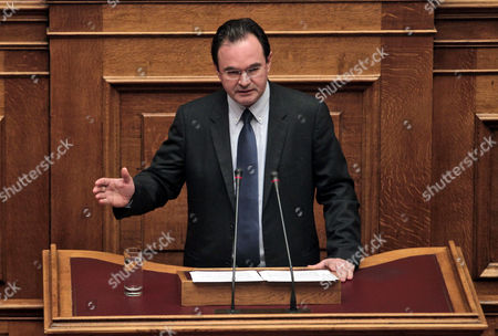 Former Pasok Finance Minister George Papaconstantinou Speaks in the Greek Parliament in Athens Greece 17 January 2013 the Greek Parliament was Set to Vote on Whether to Launch a Formal Investigation Into Accusations That Two Former Prime Ministers Had Failed to Take Action on the So-called Lagarde List That Identified Multi-millionaires Suspected of Tax Evasion the List Contains the Names of More Than 2 000 Greek Citizens with Huge Deposit Accounts at a Geneva Branch of Hsbc It was Given to Former Finance Minister George Papaconstantinou by His Then-counterpart Christine Lagarde of France in 2010 Greece Athens