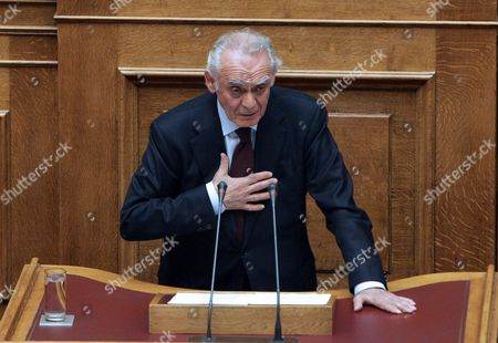 Former Greek Defence Minister Akis Tsochatzopoulos Speaks at the Greek Parliament in Athens Greece on 28 April 2011 an Extraordinary Plenary Session was Convened in Greek Parliament on Thursday to Discuss and Vote on a Proposal -- Tabled by Ruling Pasok Mps -- to Set Up a Parliamentary Preliminary Examination Committee to Investigate Former Defence Minister Akis Tsochatzopoulos' Involvement in Alleged Illegal Activities Concerning the Purchase of Four German-made Submarines by the Hellenic Navy Greece Athens