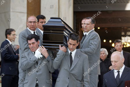 Stock Image of Pallbearers Carry the Coffin of Cypriot Film Director Screenwriter and Producer Michael Cacoyannis out of the St Dionyssios Church in Athens Greece 28 July 2011 Michael Cacoyannis Died Aged 90 in an Athens Hospital on 25 July 2011 Greece Athens