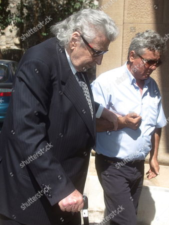 Greek Composer Mikis Theodorakis (l) Arrives at St Dionyssios Church in Athens to Attend the Funeral of Cypriot Film Director Screenwriter and Producer Michael Cacoyannis in Athens Greece 28 July 2011 Michael Cacoyannis Died Aged 90 in an Athens Hospital on 25 July 2011 Greece Athens