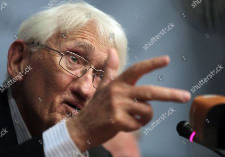 Stock Photo of German Philosopher Juergen Habermas Speaks During a Press Conference in Athens Greece 06 August 2013 Addressing the 23rd World Congress of Philosophy Held in Athens For the First Time Habermas Analysed the European Crisis From the Angle of Lack of Political Solidarity and Stated That the European Unification Should Be Completed to Restore Balance Between Politics and the Market Greece Athens