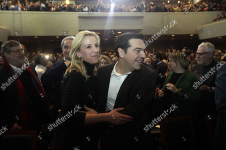 Leader of Main Opposition Left Wing Party Syriza Alexis Tsipras (r) Greets Rena Dourou (l) Regional Governor of Attica Prefecture During a Pre-election Rally of the Party in Athens Greece 29 December 2014 the 180 Votes Needed For the Election of the President of the Republic Were not Gathered Thus Dissolving Parliament and the Declaration of a Snap Election Greece Athens