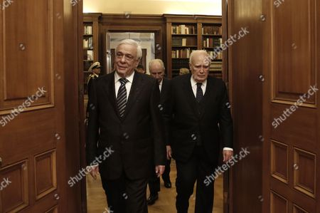 Outgoing Greek President Karolos Papoulias (r) and Newly-elected President of the Republic Prokopis Pavlopoulos (l) During a Handover Ceremony in Athens Greece 13 March 2015 Prokopis Pavlopoulos was Sworn in As the New President of the Hellenic Republic During a Ceremony Held in the Greek Parliament Greece Athens