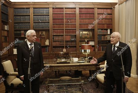 Outgoing Greek President Karolos Papoulias (r) Speaks with Newly-elected President of the Republic Prokopis Pavlopoulos (l) During a Handover Ceremony in Athens Greece 13 March 2015 Prokopis Pavlopoulos was Sworn in As the New President of the Hellenic Republic During a Ceremony Held in the Greek Parliament Greece Athens
