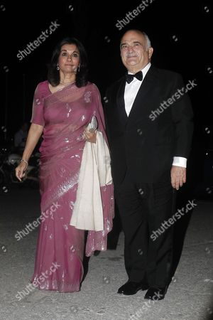 Jordan's Prince El Hassan Bin Talal (r) and His Wife Princess Sarvath El Hassan Bin Talal Arrive For a Private Dinner Organized by Former King Constantine Ii of Greece and Former Queen Anne-marie to Celebrate Their Golden Wedding Anniversary at the Yacht Club of Greece in Piraeus Greece 18 September 2014 the Golden Wedding Anniversary Will Be Attended by Royals From All Over Europe Greece Piraeus