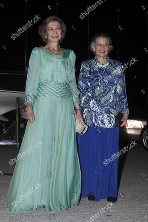 Spanish Former Queen Sofia (l) and Her Sister Princess Irene of Greece (r) Arrive For a Private Dinner Organized by Former King Constantine Ii of Greece and Former Queen Anne-marie to Celebrate Their Golden Wedding Anniversary at the Yacht Club of Greece in Piraeus Greece 18 September 2014 the Golden Wedding Anniversary Will Be Attended by Royals From All Over Europe Greece Piraeus