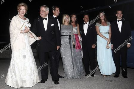 (l-r) Former Queen Anne-marie of Greece Former King Constantine Ii of Greece Crown Prince Pavlos of Greece Crown Princess Marie-chantal of Greece Princess Alexia of Greece and Denmark Her Husband Carlos Morales Quintana Princess Theodora of Greece and Denmark and Prince Philippos of Greece Arrive For a Private Dinner Organized by Former King Constantine Ii of Greece and Former Queen Anne-marie to Celebrate Their Golden Wedding Anniversary at the Yacht Club of Greece in Piraeus Greece 18 September 2014 the Golden Wedding Anniversary Will Be Attended by Royals From All Over Europe Greece Piraeus