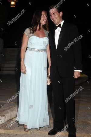 Stock Image of Princess Theodora (l) of Greece and Denmark and Prince Philippos of Greece Arrive For a Private Dinner Organized by Former King Constantine Ii of Greece and Former Queen Anne-marie to Celebrate Their Golden Wedding Anniversary at the Yacht Club of Greece in Piraeus Greece 18 September 2014 the Golden Wedding Anniversary Will Be Attended by Royals From All Over Europe Greece Piraeus
