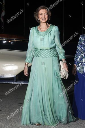 Spanish Former Queen Sofia Arrives For a Private Dinner Organized by Former King Constantine Ii of Greece and Former Queen Anne-marie to Celebrate Their Golden Wedding Anniversary at the Yacht Club of Greece in Piraeus Greece 18 September 2014 the Golden Wedding Anniversary Will Be Attended by Royals From All Over Europe Greece Piraeus