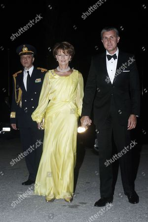 Crown Princess Margarita and Prince Radu (r) of Romania Arrive For a Private Dinner Organized by Former King Constantine Ii of Greece and Former Queen Anne-marie to Celebrate Their Golden Wedding Anniversary at the Yacht Club of Greece in Piraeus Greece 18 September 2014 the Golden Wedding Anniversary Will Be Attended by Royals From All Over Europe Greece Piraeus