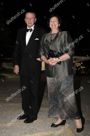 Jacques Rogue Former President of the International Olympic Committee (ioc) and His Wife Anne Rogge Arrive For a Private Dinner Organized by Former King Constantine Ii of Greece and Former Queen Anne-marie to Celebrate Their Golden Wedding Anniversary at the Yacht Club of Greece in Piraeus Greece 18 September 2014 the Golden Wedding Anniversary Will Be Attended by Royals From All Over Europe Greece Piraeus
