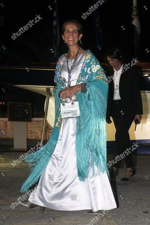 Spanish Princess Elena Arrives For a Private Dinner Organized by Former King Constantine Ii of Greece and Former Queen Anne-marie to Celebrate Their Golden Wedding Anniversary at the Yacht Club of Greece in Piraeus Greece 18 September 2014 the Golden Wedding Anniversary Will Be Attended by Royals From All Over Europe Greece Piraeus