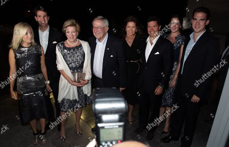 From (l-r) Crown Princess Marie-chantal of Greece Crown Prince Pavlos of Greece Former King Constantine of Greece and Former Queen Anne-marie of Greece Princess Alexia of Greece and Denmark Her Husband Carlos Morales Quintana Princess Theodora of Greece and Denmark and Prince Philippos of Greece Arrive For a Dinner Organized by Former King Constantine of Greece and Former Queen Anne-marie to Celebrate Their Golden Wedding Anniversary at the Acropolis Museum in Athens Greece 17 September 2014 the Golden Wedding Anniversary Will Be Attended by Royals From All Over Europe Greece Athens