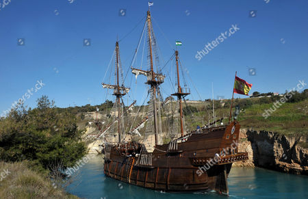 The Spanish 'Galeon Andalucia' a Replica of the 17th Century Spanish Galleon Ship Passes the Corinth Canal Central Greece 07 February 2011 the 51-meter-long Traveling Museum Created by Spains Nao Victoria Foundation Makes Use of Ancient Seafaring Techniques with Very Minimal Modern Technology and Virtually No Fuel at Its Disposal Greece Corinth