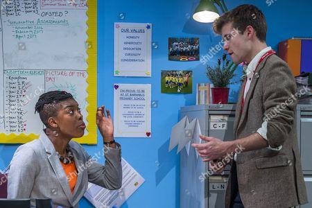 Ann Ogbomo (Jo, headteacher) and Oliver Dench (Tom, private tutor)