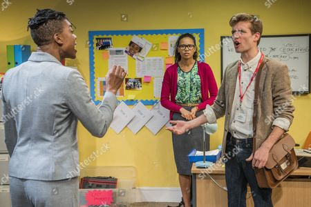 Ann Ogbomo (Jo, headteacher), Oliver Dench (Tom, private tutor) and Fola Evans-Akingbola (Lara - PA and aspiring teacher)