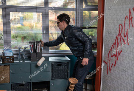Stock Picture of Finn Barton, as played by Joe Gill, decides to take matters into his own hands, when returns to the house and breaks in, trashing Kasim's bedroom. Just as he is leaving his brother's arrive having tracked him down. Will Finn admit what he's done? (Ep 7747 - Mon 13 Feb 2017)