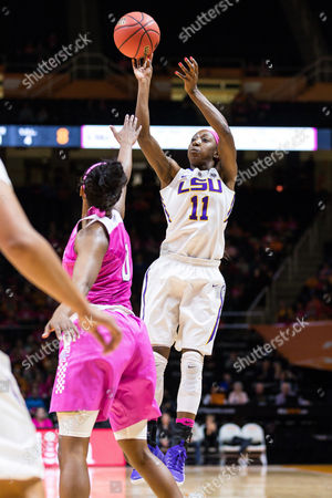 Raigyne Moncrief #11 of the LSU Tigers shoots the ball over Jordan Reynolds #0 of the Tennessee Lady Volunteers during the NCAA basketball game between the University of Tennessee Lady Volunteers and the Louisiana State University Lady Tigers at Thompson Boling Arena in Knoxville TN Tim Gangloff/CSM
