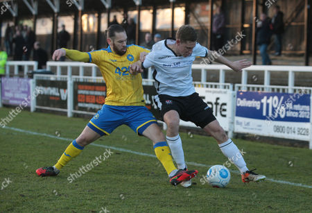 L-R Jared Hodgkiss of Torquay United and Dave Martin of Bromley