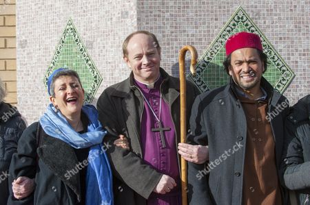 (L to R) Rabbi Laura Naomi Janner-Klausner, Bishop of Edmonton Rob Wickham and Imam Ajmal Masroor join a human circle of solidarity forming outside Wightman Road mosque in north London during Friday prayers in an event backed by a coalition of faith groups, including members of Reform Judaism, the Christian Muslim Forum and Faiths Forum for London.  The aim is to 'stand with our Muslim brothers and sisters at this time of international turbulence', say the organisers.