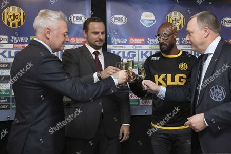 (L-R) Roda's technical director Ton Caanen; Aleksei Korotajev, the new co-owner of Roda, the club's consultant Nicolas Anelka and Roda's Executive director Wim Collard during a press conference in Kerkrade, The Netherlands, 03 February 2017.