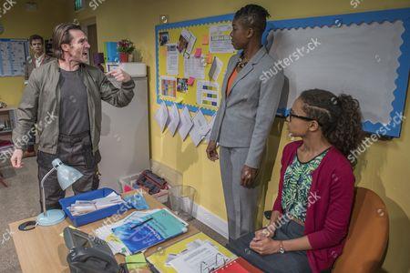 Stock Image of Kevin Howarth (David Martin, parent), Ann Ogbomo (Jo, headteacher) and Fola Evans-Akingbola (Lara - PA and aspiring teacher) Arts Council.