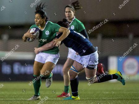 Scotland vs Ireland. Scotland's Karen Dunbar tackles Sene Naupu of Ireland