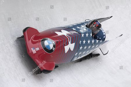 Steven Holcomb and Samuel McGuffie of the USA in action during the 2-man bobsleigh World Cup competition in Innsbruck, Austria, 04 February 2017.